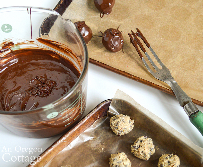Dipping Oatmeal Chocolate Chip Cookie Dough Truffles