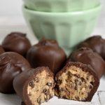 Maple Sweetened, Gluten Free Oatmeal Chocolate Chip Cookie Dough Truffles