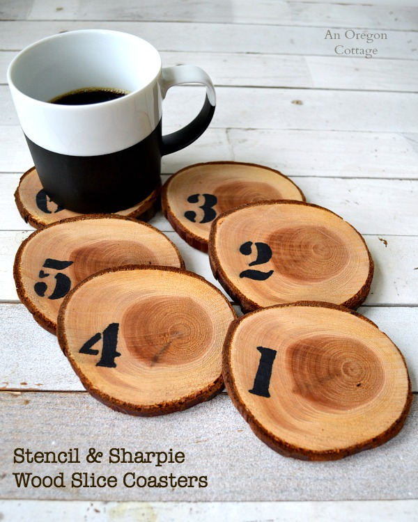 Number Stencil & Sharpie Wood Slice Coasters - easy & inexpensive decor or gift