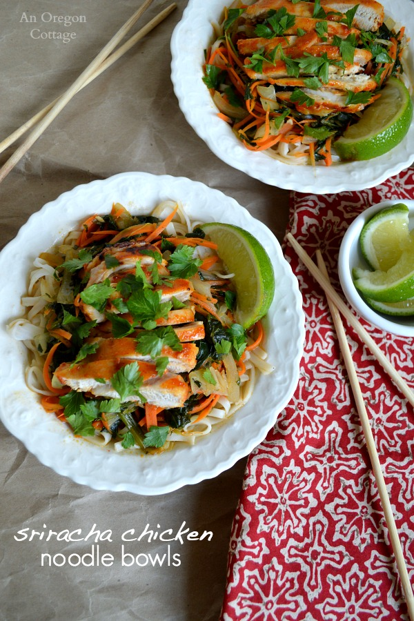 Spicy Sriracha Chicken Noodle Bowls- a fast and flavorful dinner
