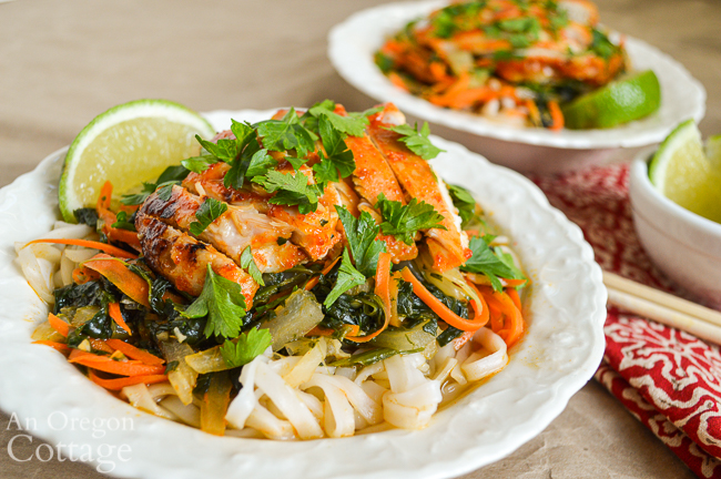 Sriracha Chicken Noodle Bowls close