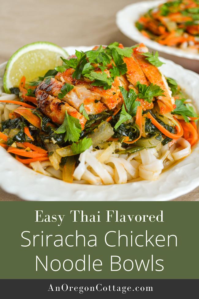 Thai sriracha chicken noodle bowls