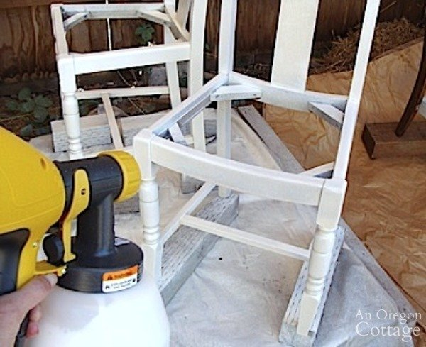 Using Paint Sprayer on wood chair