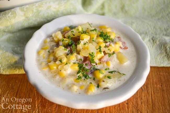 corn sausage chowder bowl close