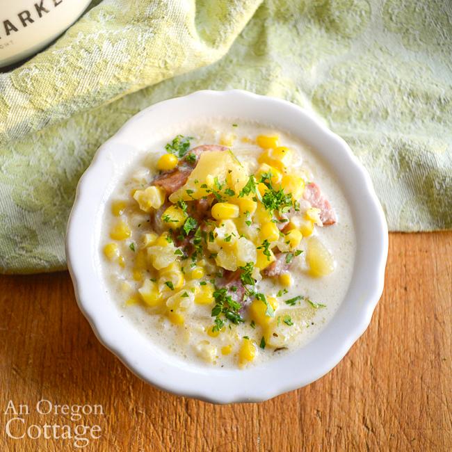 corn-sausage chowder bowl above