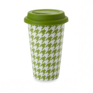 green houndstooth mug