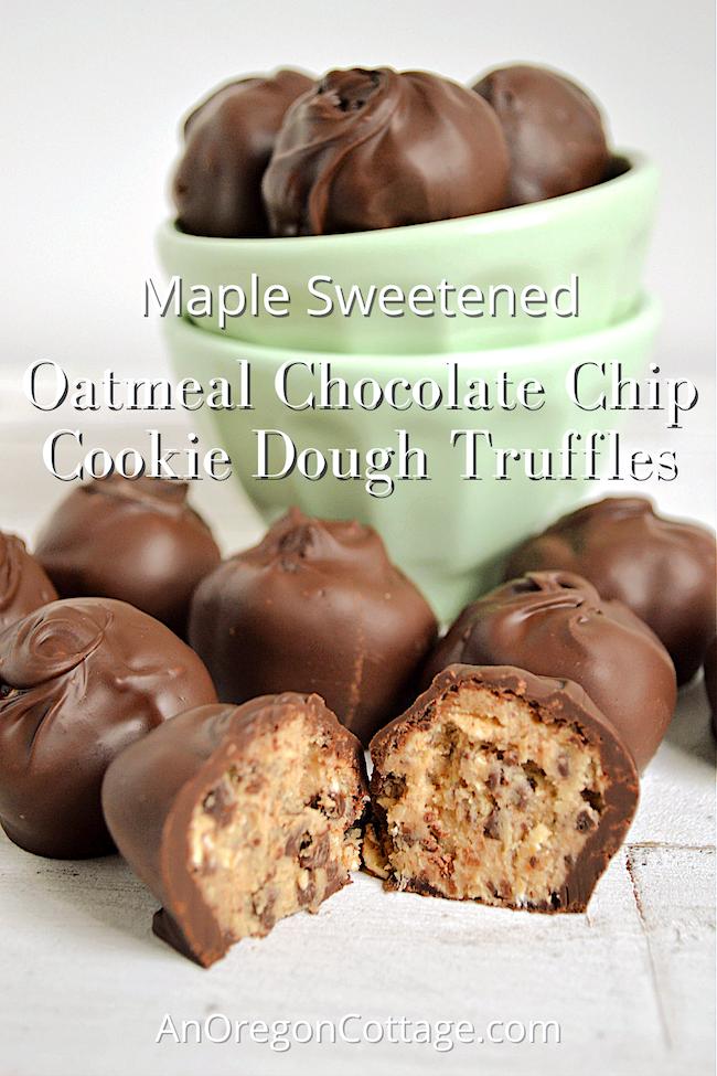 maple sweet oatmeal chocolate chip cookie dough truffles