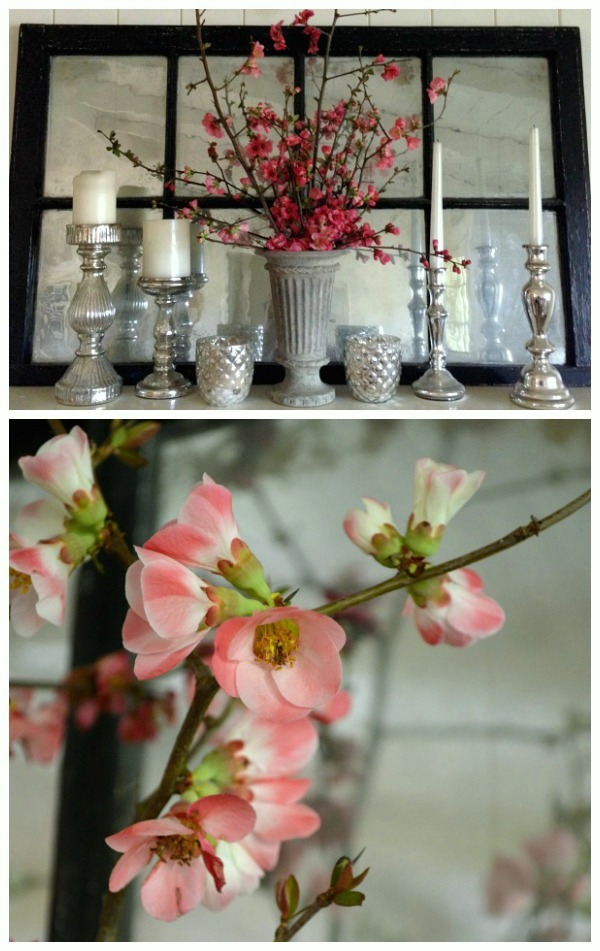 Blooming Quince & Mercury Glass Mantel and Blossoms