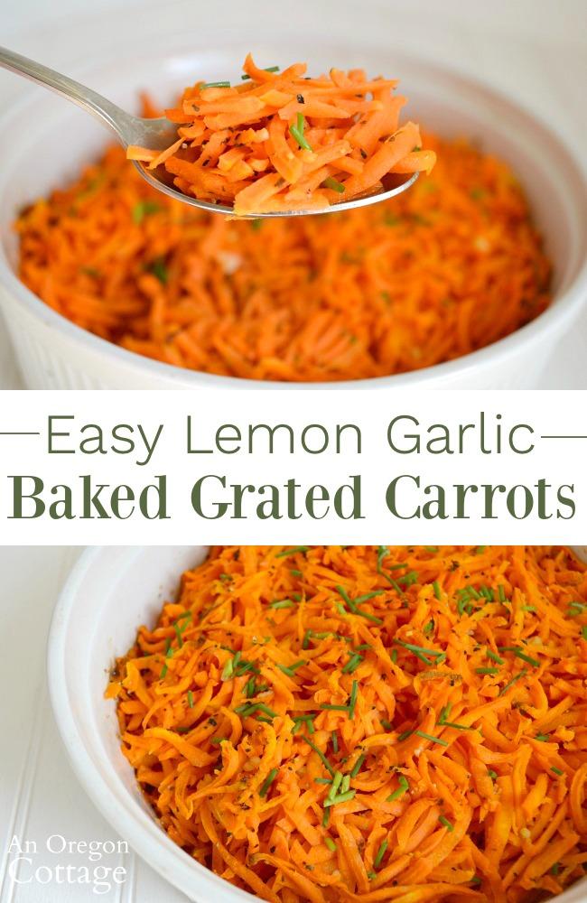 Easy lemon garlic baked grated carrots