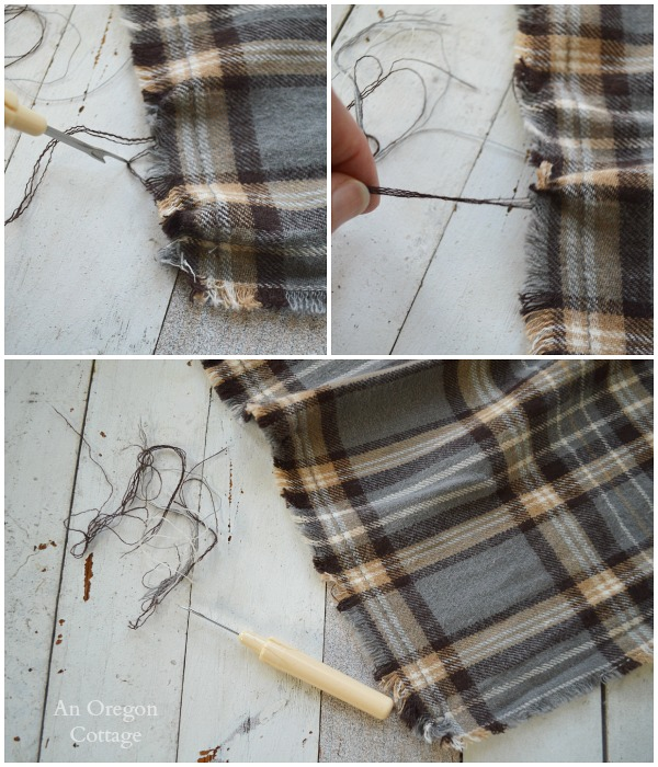 Pulling Threads for DIY Men's Flannel Scarf