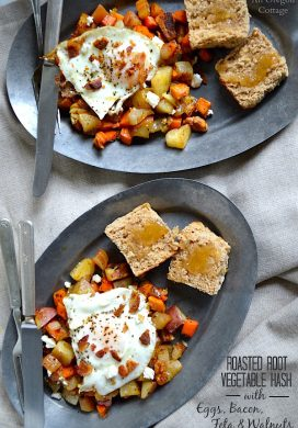 Roasted Root Vegetable Hash with Eggs, Bacon, Feta, and Walnuts makes a perfect breakfast OR dinner