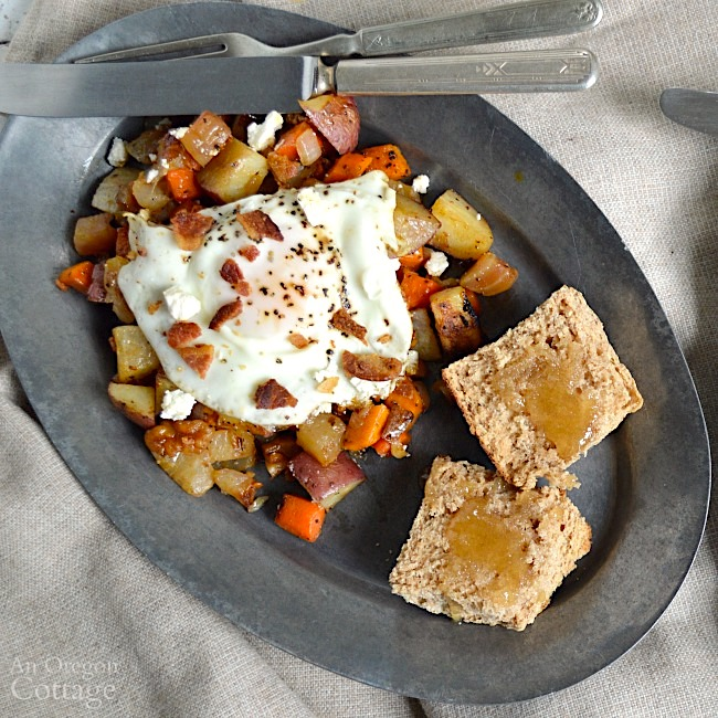 Roasted Root Vegetable Hash with bacon eggs and feta