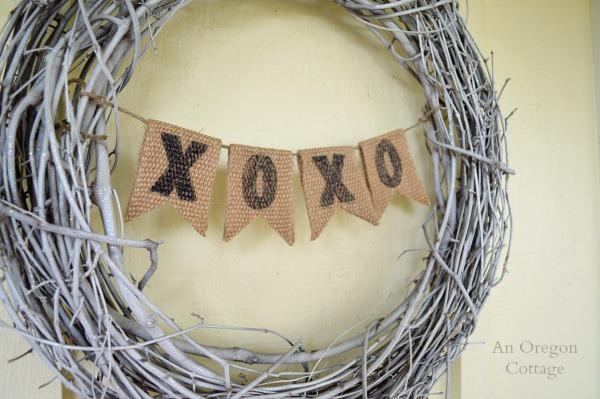 Simple Burlap Valentine Banner Bunting Wreath