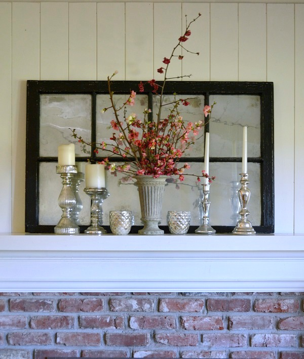 Spring Blooming Quince & Mercury Glass Mantel