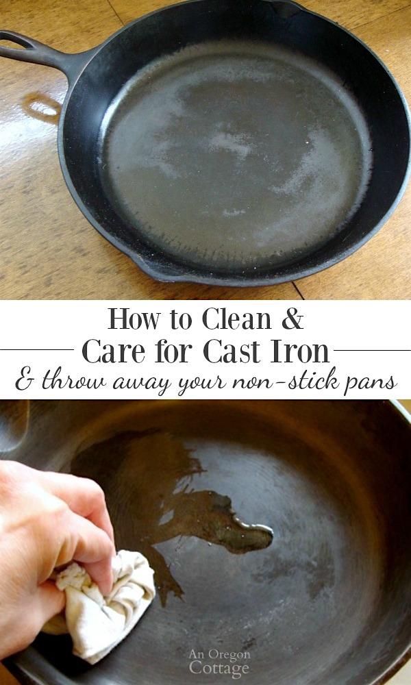 How to clean and care for cast iron- The cleaning tip that made me finally love my cast iron pan and throw out my non-stick pans for good.