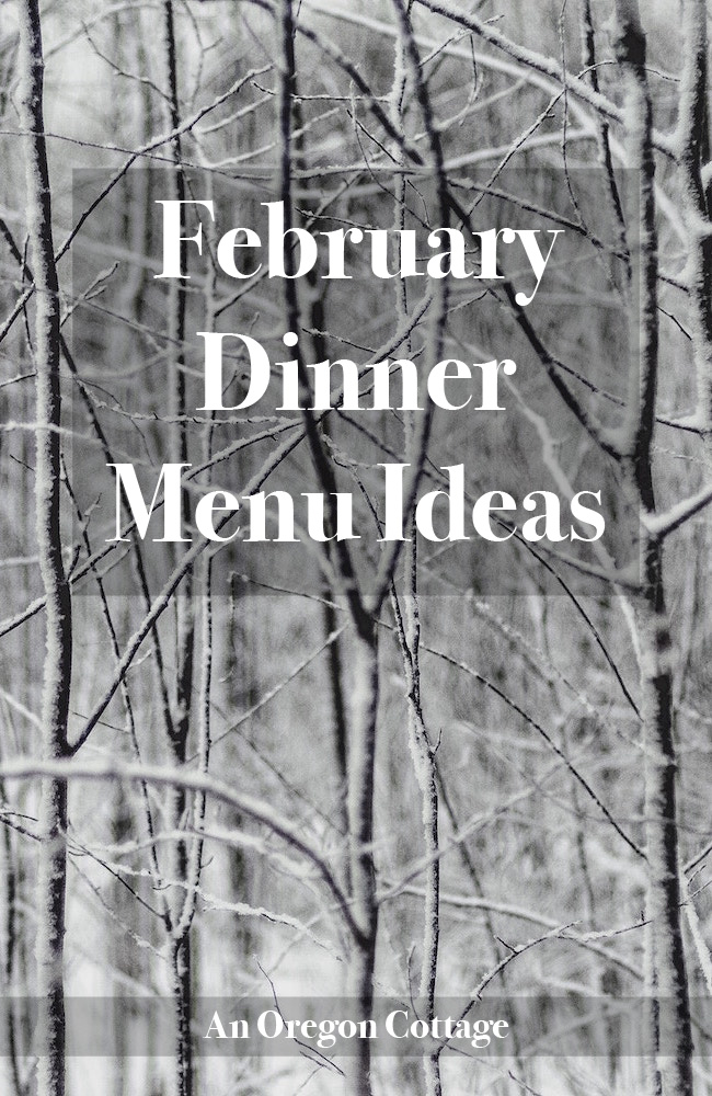 A list of seasonal, simple & from scratch family favorite dinner menu ideas for February.