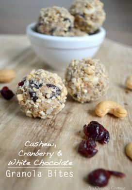 Cashew, Cranberry & White Chocolate Granola Bites pin