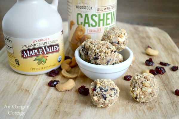 Cashew, Cranberry and White Chocolate Granola Bites are sweetened with pure maple syrup