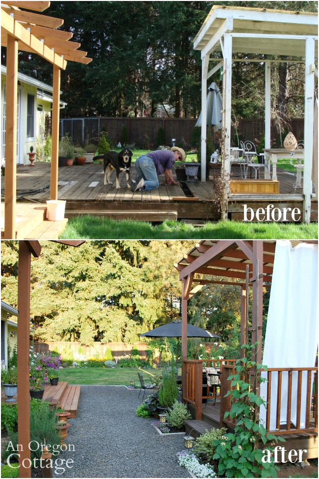 DIY Backyard Makeover-Gazebo and Paths Before-After