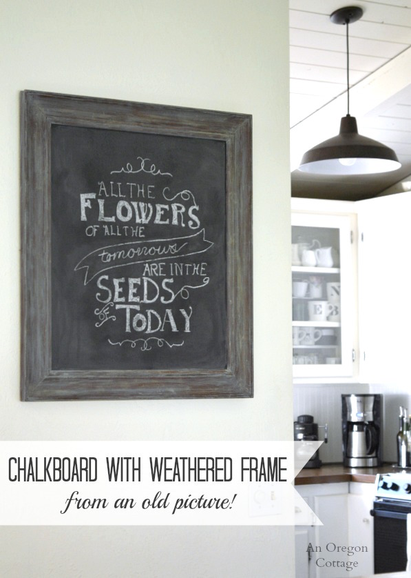 diy chalkboard weathered frame from an old picture