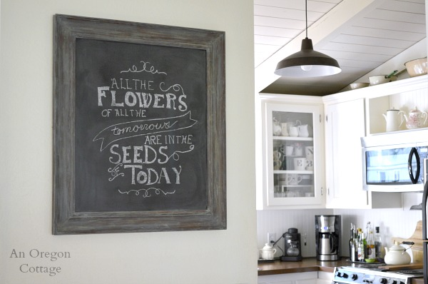 DIY Weathered Framed Chalkboard