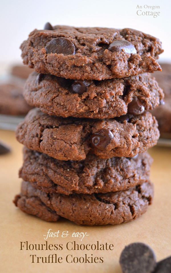 Fast and Easy Flourless Chocolate Truffle Cookies