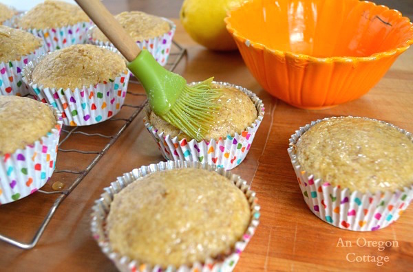 Honey-Lemon Glazed Gluten-Free Lemon-Flaxseed Muffins