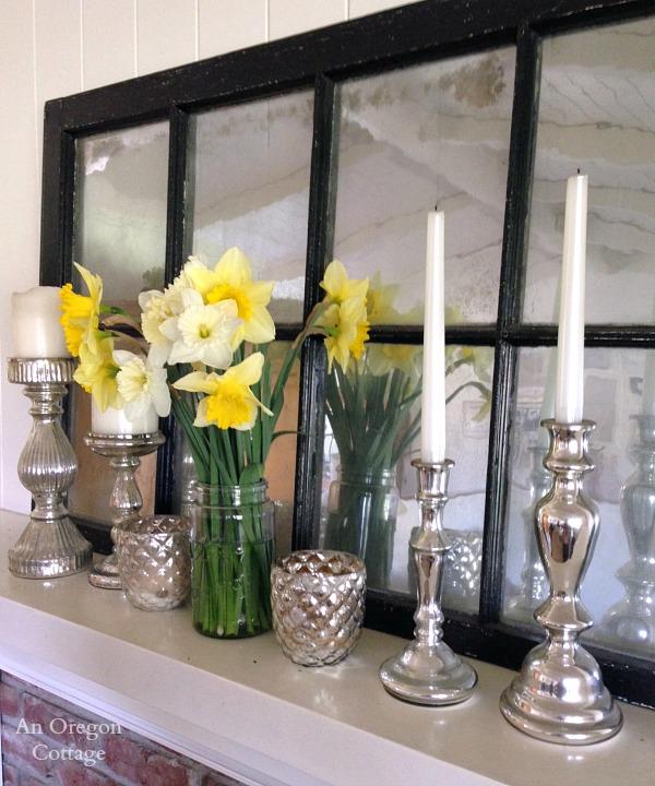 March Daffodil and Mercury Glass Mantel