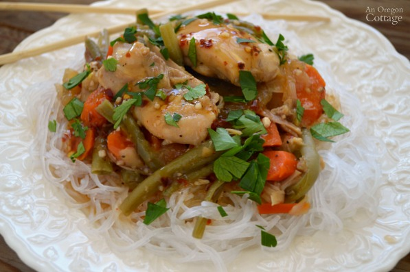 Make an easy slow cooker meal with Sweet Chili Chicken and Vegetables over Asian noodles.