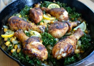 One Dish Spiced Lemon Skillet Chicken with Kale and Garbanzo Beans
