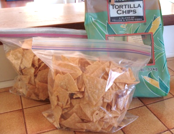Portioning chips into smaller bags
