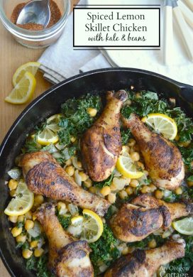 Spiced Lemon Skillet Chicken with Kale & Beans