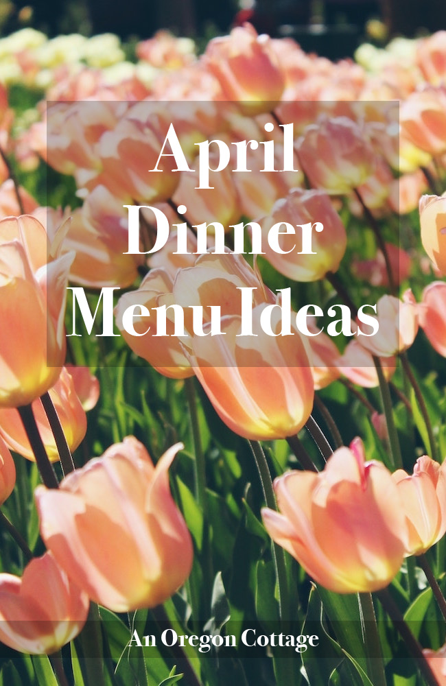 A list of dinner ideas for the month of April with links to recipes and side dishes.