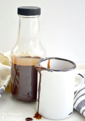 4 Ingredient Homemade Chocolate Syrup in bottle and pitcher
