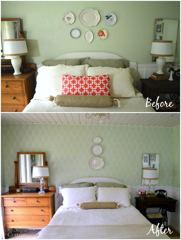 Bedroom Accent Wall Before and After