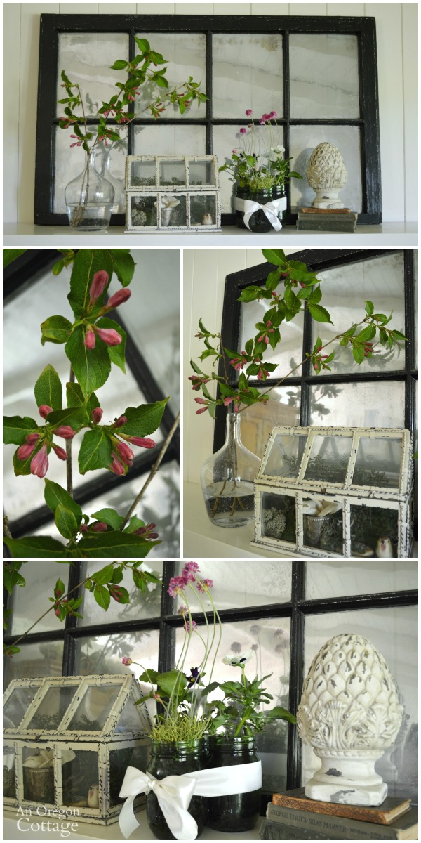 Blooming Spring Mantel with planted mason jars, garden art, and flowering branches.