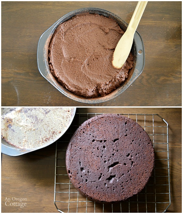 Baking Dark Chocolate Spelt Cake with Mocha Ganache