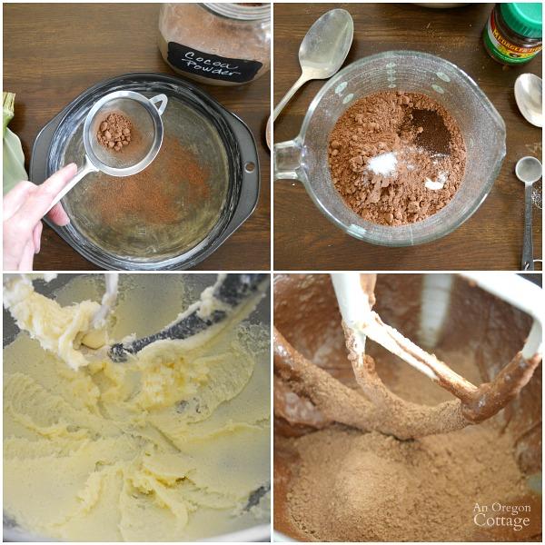 Making Dark Chocolate Spelt Cake with Mocha Ganache