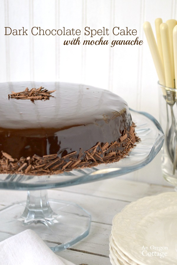 Dark Chocolate Spelt Cake with Mocha Ganache is easy and so delicious!