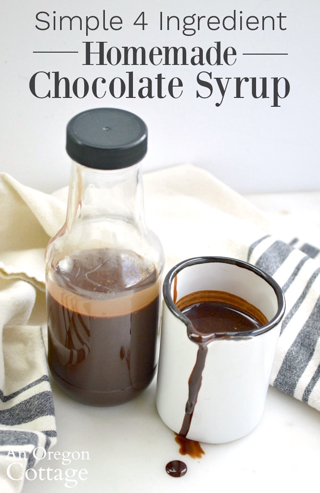 Simple 4 Ingredient Homemade Chocolate Syrup in bottle