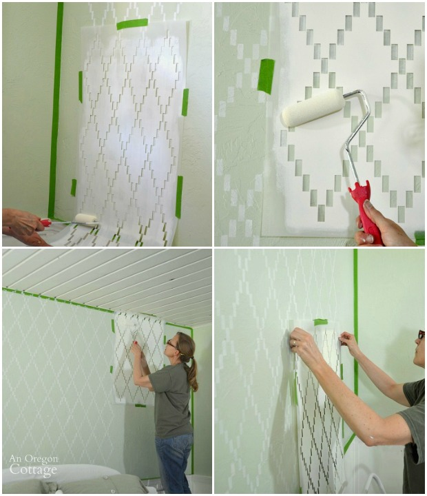 How to stencil a wall with a trellis design