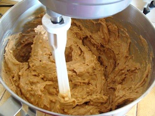 Stirring peanut butter in mixer