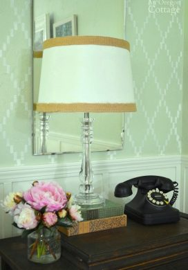 Table Vignette with DIY Stenciled Wall