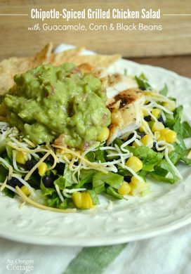 Chipotle Spice Rubbed Grilled Chicken Salad with Guacamole, Corn & Black Beans