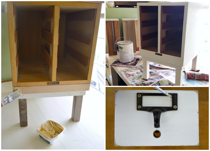 DIY 1960s Card Catalog to Table-filling and painting