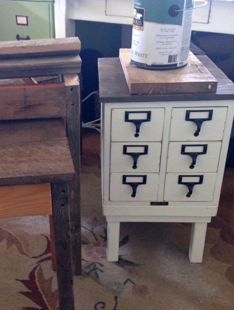 DIY 1960s Card Catalog to Table-gluing top boards