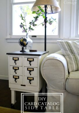 DIY Card Catalog Side Table