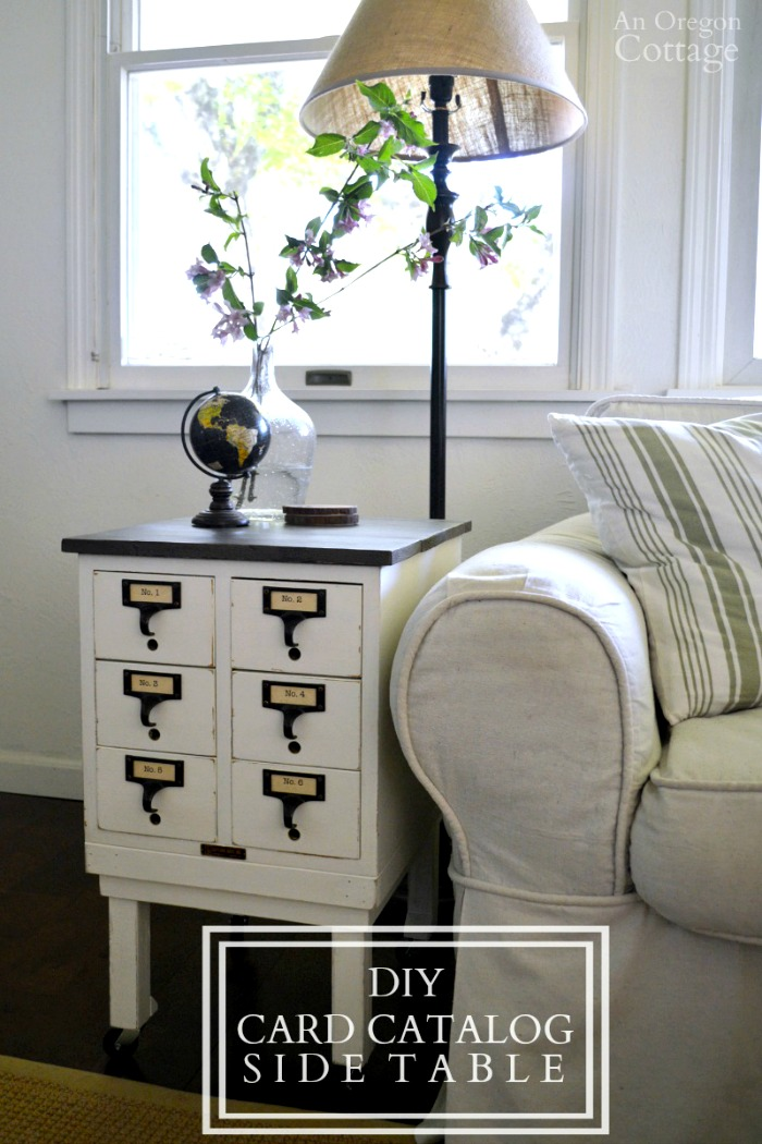 DIY Card Catalog Side Table- how to upcycle any small box or drawers into a side table!