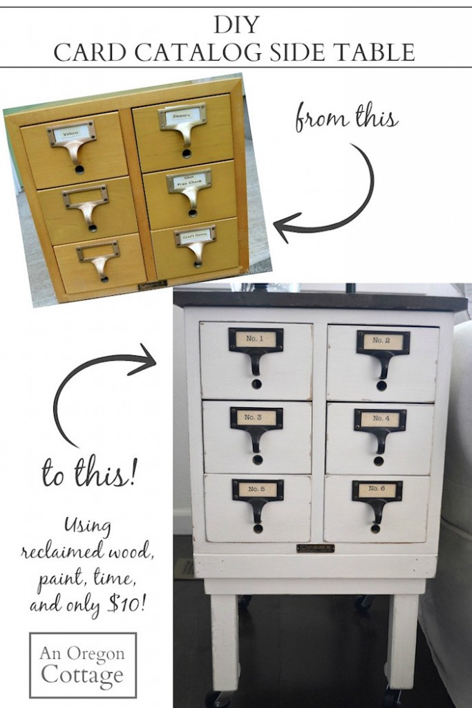 DIY Card Catalog Side Table-how to upcycle an old school card catalog -or any box or drawers- into a side table you love!