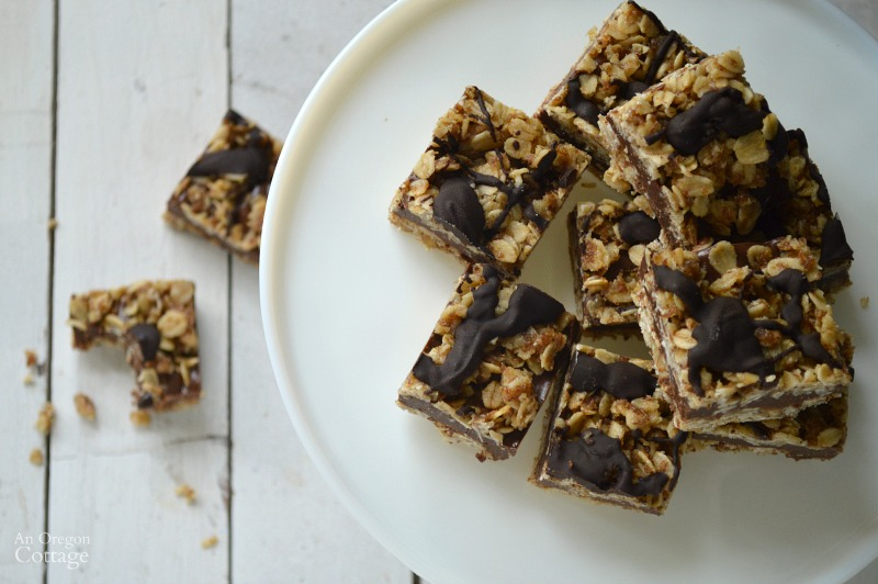 Healthy No-Bake Fudge Oatmeal Bars from above